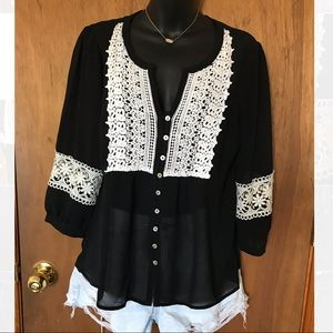 Forever 21 Sheer Black Button Up Top